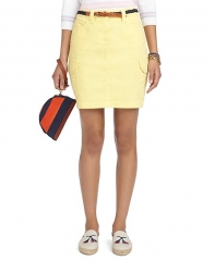 Light yellow denim skirt at Brooks Brothers