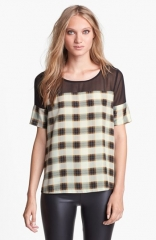 Like Mynded Chiffon Yoke Plaid Top at Nordstrom