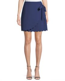 Likely Mila Scalloped-Hem Wrap Mini Skirt at Neiman Marcus