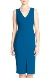 Likely Park V-Neck Sheath Midi Dress in Blue at Nordstrom