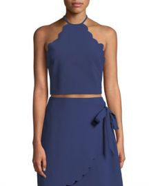 Likely Reeves Scalloped Halter-Neck Crop Top at Neiman Marcus