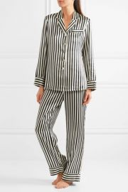 Lila Striped Silk-Satin Pajama Set by Olivia von Halle at Net A Porter