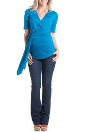 Lilac Clothing Bella Faux Wrap Maternity Top in Blue at Nordstrom