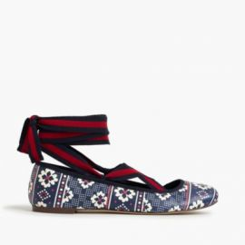 Lily lace-up ballet flats at J. Crew