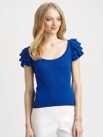 Lilys blue flutter sleeve top at Saks at Saks Fifth Avenue