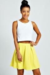 Lime box pleated skirt at Boohoo