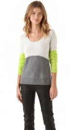 Lime color block sweater at Shopbop