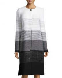 Linear Degrade Knit Jewel-Neck Topper at Neiman Marcus