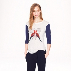 Linen Baseball Tee in Lovebirds at J. Crew