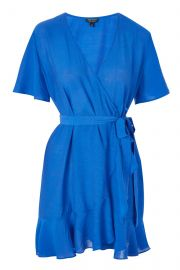 Linen Ruffle Wrap Dress at Topshop