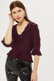 Lips Print Frill Blouse at Topshop