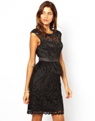 Lipsy VIP  Lipsy VIP Waxed Lace Dress with Feather Peplum at Asos