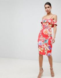 Lipsy printed bardot bodycon dress at asos com at Asos