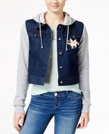 Lisa Frank Juniors  Unicorn Patch Hoodie Denim Jacket at Macys