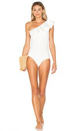 Lisa Marie Fernandez rden Double Ruffle One Piece in White Bonded from Revolve com at Revolve
