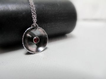 LittleHillJewelry Oxidized Silver Ruby Pendant Necklace at Etsy