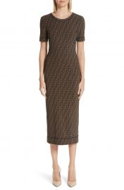 Logo Mesh Midi Sheath Dress by Fendi at Nordstrom