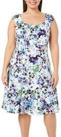 London Times Plus Watercolor Floral Print Dress at Amazon