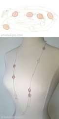 Long Rose Quartz Necklace at Arte Designs