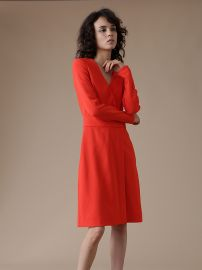 Long Sleeve A-Line Wrap Dress at DvF