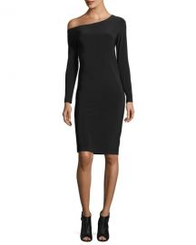 Long-Sleeve Asymmetric-Neck Sheath Dress at Neiman Marcus