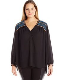 Long Sleeve Blouse with Shoulder Embroidery by NYDJ at Amazon