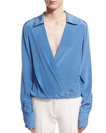 Long-Sleeve Collared Crossover-Bodice Silk Blouse by Diane von Furstenberg at Bergdorf Goodman
