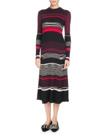 Long-Sleeve Crewneck Striped Ribbed Wool-Blend Dress at Bergdorf Goodman