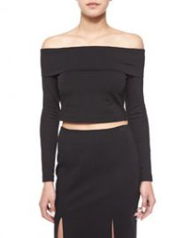 Long-Sleeve Crop Top  Black at Neiman Marcus