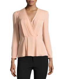 Long-Sleeve Georgette Wrap Top at Neiman Marcus
