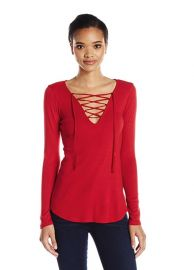 Long Sleeve Lace-Up Top by Splendid at Amazon