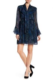 Long Sleeve Printed Ruffle Dress by Laundry by Shelli Segal at Nordstrom Rack