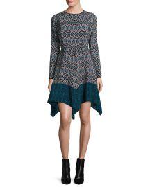 Long-Sleeve Printed Silk Handkerchief Dress at Neiman Marcus