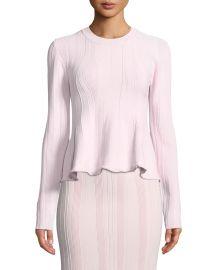 Long-Sleeve Ribbed Peplum Sweater at Bergdorf Goodman