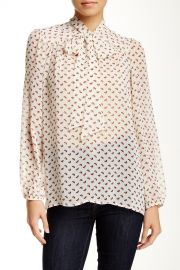 Long Sleeve Tie Neck Woven Blouse at Nordstrom Rack
