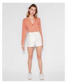 Long Sleeve Two Pocket Zip Front Shirt at Express