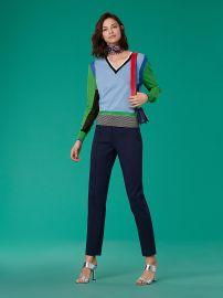 Long-Sleeve V-Neck Color Block Pull Over Diane von Furstenberg at DvF