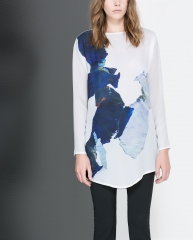 Long printed tshirt at Zara