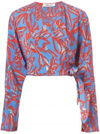 Long-sleeve Crossed Cropped Top by Diane von Furstenberg at Farfetch