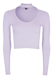 Long sleeve choker top at Topshop