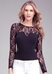 Long sleeve lace bodysuit at Bebe