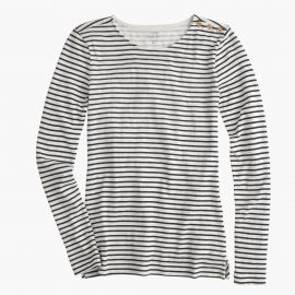 Long-sleeve striped painter T-shirt in ivory navy at J. Crew