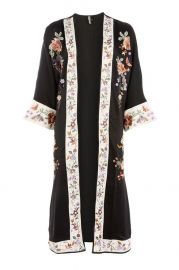 Longline Embroidered Kimono at Topshop