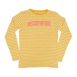 Longsleeve Top in Yellow Stripes with Coral Discotheque at Clare V