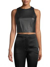 Lorita Leather Cropped Top by Alice + Olivia at Gilt