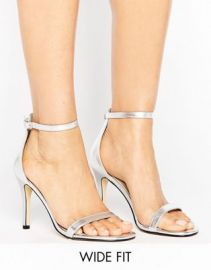 Lost Ink Wide Fit Jess Silver Barely There Heeled Sandals at asos com at Asos