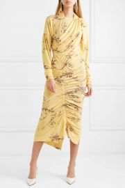 Louise ruched floral-print stretch-crepe dress at Net A Porter