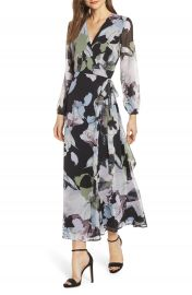 Love  Fire Floral Print Long Sleeve Maxi Wrap Dress   Nordstrom at Nordstrom