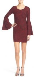 Love  Fire Textured Bell Sleeve Body-Con Dress in Red at Nordstrom