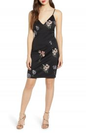 Love  Nickie Lew Embroidered Flowers Body-Con Slipdress   Nordstrom at Nordstrom